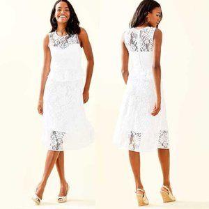 Lilly Pulitzer Nolea Lace Midi Dress White 10 14